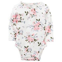 Baby Girl Carter's Shirred Neck Long Sleeve Bodysuit