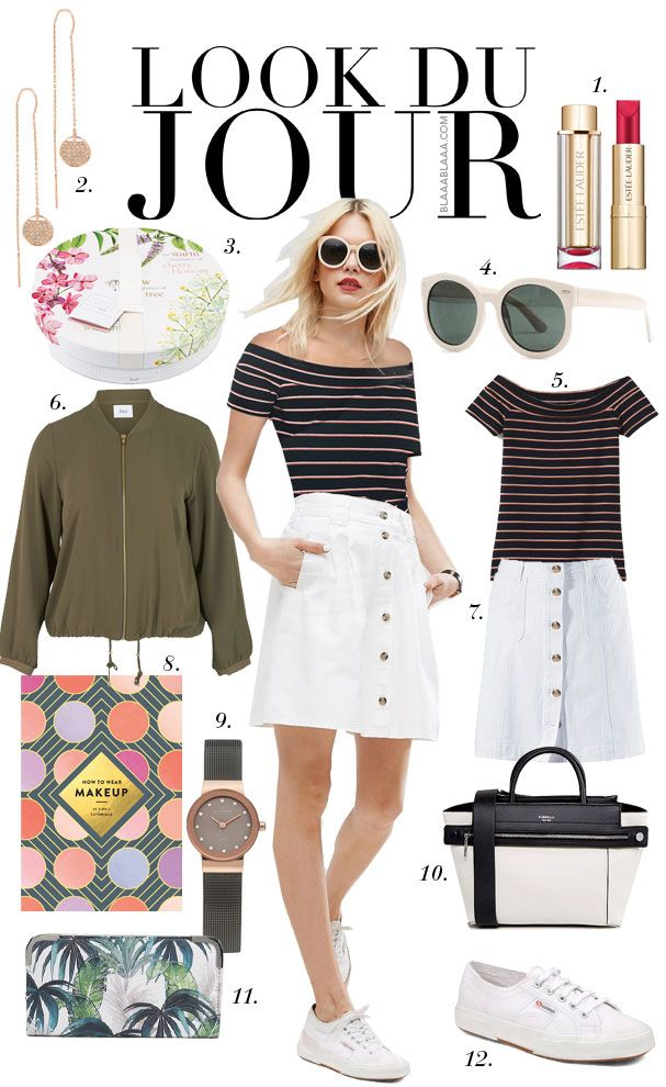 Look Du Jour: Too much to candle. Black and beige striped off the shoulder top+white A-line skirt+white sneakers+khaki bomber jacket +black and white handbag+sunglasses. Spring Casual Outfit 2017