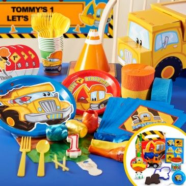Construction+Pals+1st+Birthday+Deluxe+Party+Pack+&+Favors+for+8