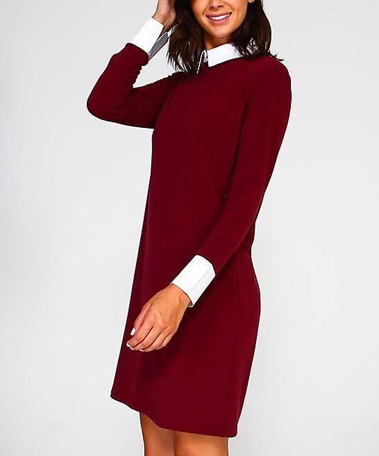 af7450ea137 sabrina red dress white collar   Style inspiration   Dresses, Casual ...