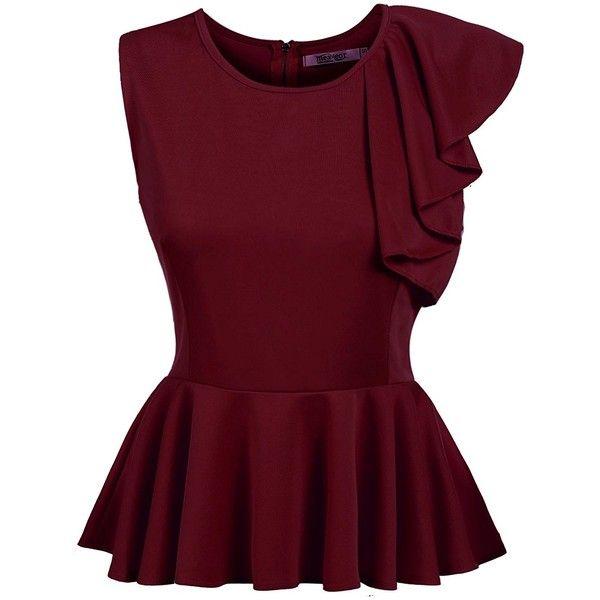 d4e8d23cfe8d99 Beyove Women s Ruffles Peplum Long Sleeve Dressy Blouse Tops ( 9.99) ❤  liked on Polyvore featuring tops