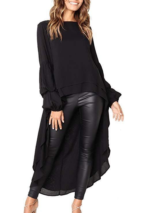 64a6a9036e0 PRETTYGARDEN Women s Lantern Long Sleeve Round Neck High Low Asymmetrical  Irregular Hem Casual Tops Blouse Shirt Dress - Blogging ERA