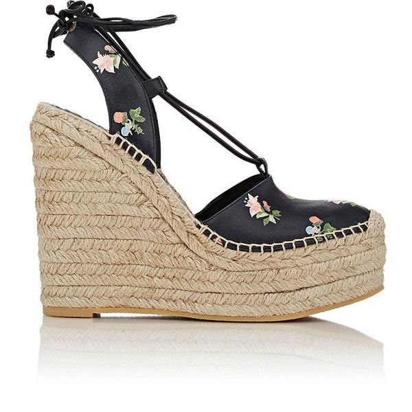 Saint Laurent Ankle-Tie Espadrille Wedge Sandals ($595) ❤ liked on Polyvore featuring shoes, sandals, multi, espadrille wedge sandals, ankle strap sandals, floral wedge sandals, leather sandals and black high heel sandals