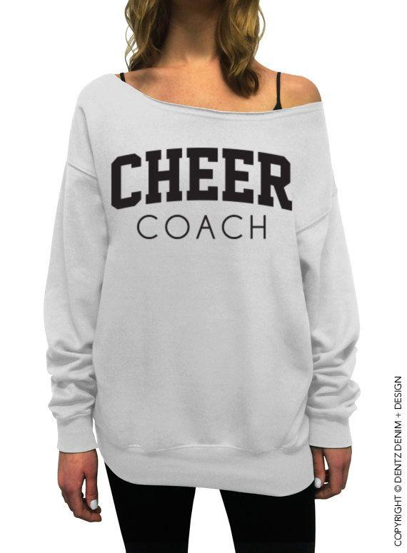 "Coupon code ""PINTEREST"" Cheer Coach - White Slouchy Oversized Sweatshirt by DentzDesign #dentzdesign"