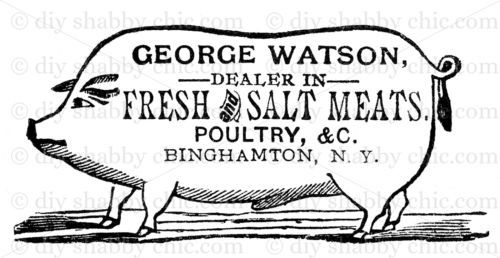FRENCH-FURNITURE-DECAL-DIY-SHABBY-CHIC-IMAGE-TRANSFER-VINTAGE-LABEL-PIG-MEAT