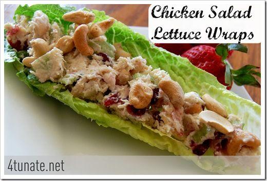 Chicken salad lettuce wraps - chicken, mayo, cashews, craisins, grapes ...