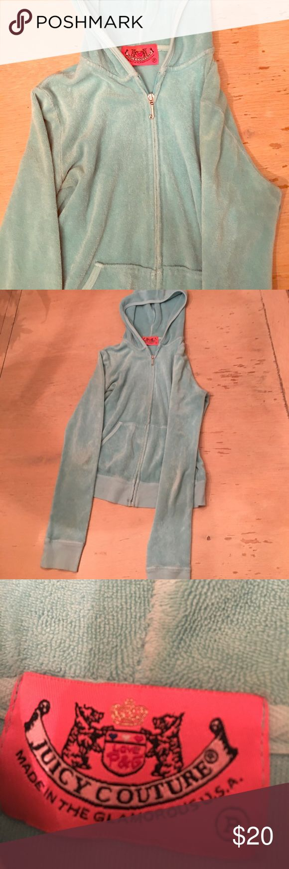 Juicy couture teal/aqua blue zip up jacket Juicy couture jacket with hood. size petite colored aqua teal baby blue type of color hardly signs of wear still good condition Juicy Couture Tops Sweatshirts & Hoodies