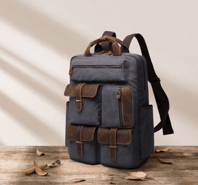 Europe Luxury Canvas Leather Travel Backpack Shop Now! . . . #pin #pinterest  #backpacks #backpack #travelbag #t… | Vintage backpacks, Canvas leather,  Men's backpack