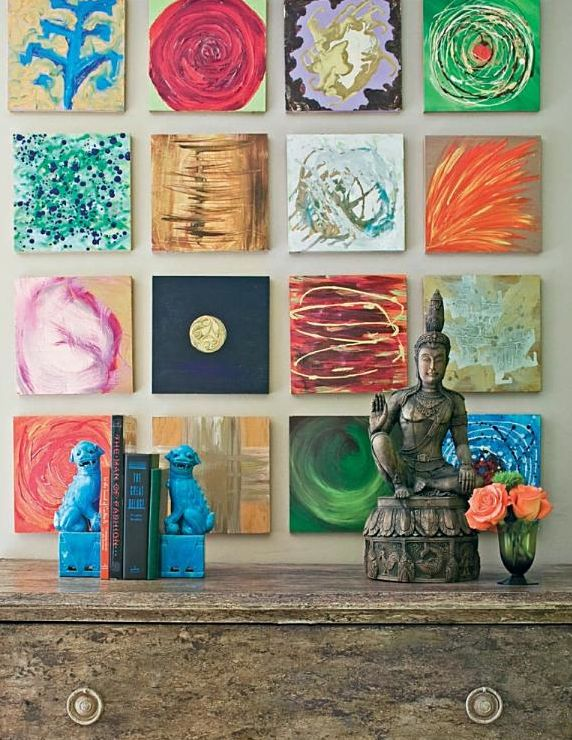 Small unique and colorful canvases grouped together from the big easy style book on new orleans interiors by author bryan batt