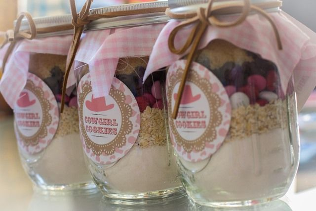 Cookie mix in a jar for take home favors at a Cowgirl Party #cowgirl #partyfavors