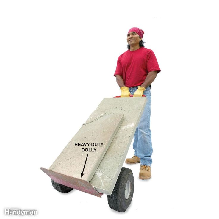 Heavy-duty two-wheel dollies ($40 and up) work great for moving flat stones and piles of brick. Special dollies called ball carts have a curved back to fit the root ball of a tree. These are available at some rental centers (about $24 per day) and are perfect for moving boulders. Get more tips for moving heavy stones here.