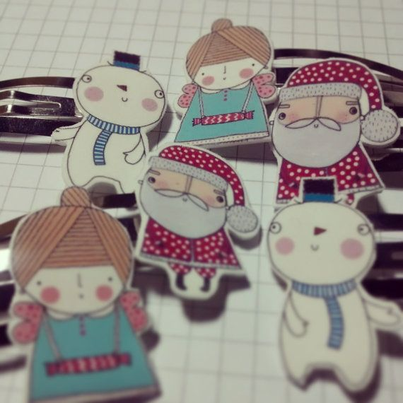 Shrink plastic Christmas hair snap clips snowman by stamptout