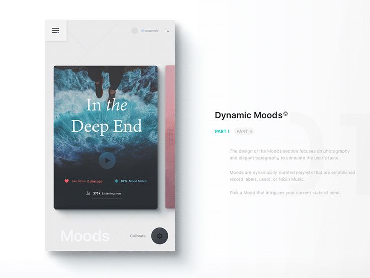 UI Interactions of the week #45: MIXIN — Modern Music App by Drew Endly