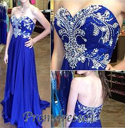 #promdress01 prom dresses -2015 elegant sweetheart navy blue chiffon beading long prom dress for teens, ball gown #coniefox #2016prom
