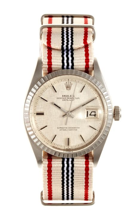 1967 Rolex Stainless Steel Datejust With Linen Dial by for Preorder on Moda Operandi