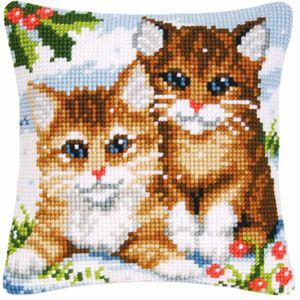 Набор  для вышивания крестиком подушки VERVACO Два котенка Вервако  PN-0145585