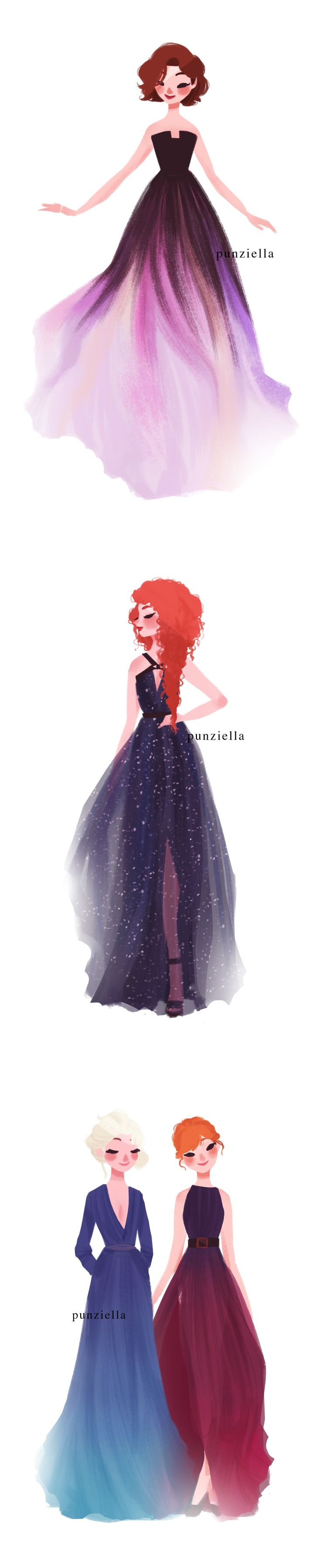 punziella: because I saw this frickin' post (http://boredpanda.tumblr.com/post/118436051945/fashion-inspired-by-nature-in-diptychs-by-liliya) like 10 times in a row, I decided to draw the four seasons wearing the dresses ;P