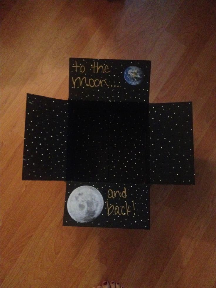 """To the moon and back care package. Add marshmallow """"moons"""", pop rocks, etc..."""