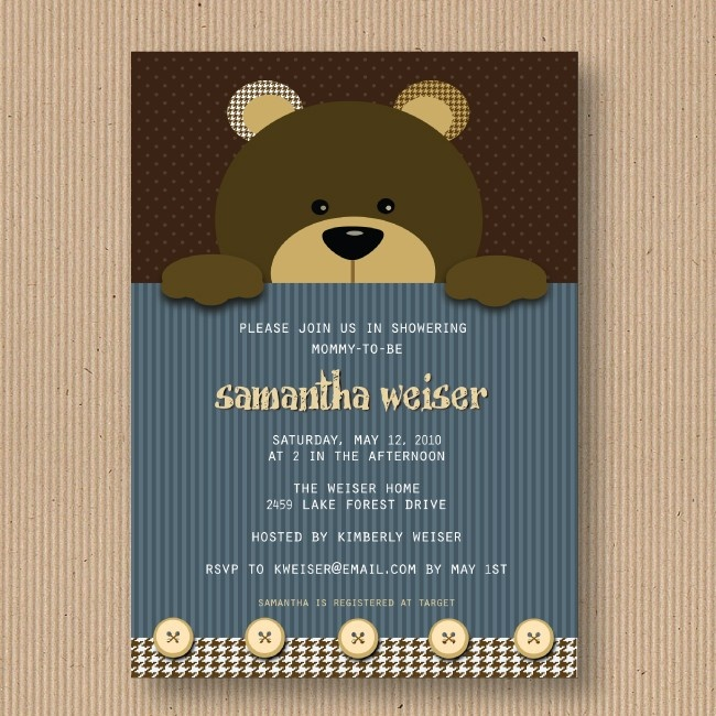Teddy Bear Baby Shower Invitation For Boy Or I Customize You Print Digital File 18 00 Via Etsy Pinterest