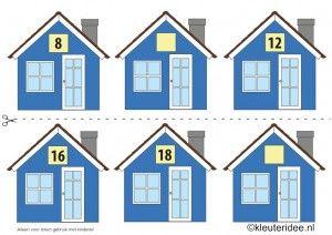 CITOvaardigheden voor kleuters, Welk nummer heeft het huisje in de straat even nrs 3, What number is the house in the street, free printable