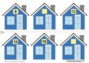 CITOvaardigheden voor kleuters, Welk nummer heeft het huisje in de straat even nrs 3, What number is the house in the street, free printable