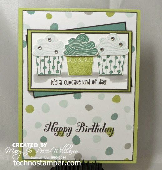Stamps: Create a Cupcake Paper: Pear Pizazz, Lost Lagoon, Whisper White, DP Ink: Basic Black, Soft Sky, Lost Lagoon, Pear Pizazz Other: cupcake punch, rhinestones, black marker