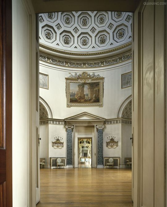 Kedleston Hall, Derbyshire, England, 1759 - 1765. Entrance to The Saloon - a rotunda with a coffered dome 62 feet high.