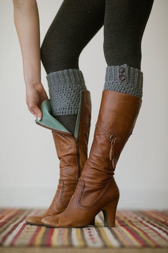 Knitted Boot Cuffs, Faux Leg Warmers, or Boot Toppers with Chunky Knit and Wooden Working Buttons for Women and Teens in Dark Gray on Etsy, $28.00