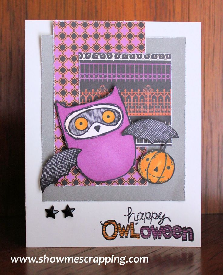 Show Me Scrapping Blog: Happy 'Owl'oween Card, what a hoot, halloween, scaredy cat