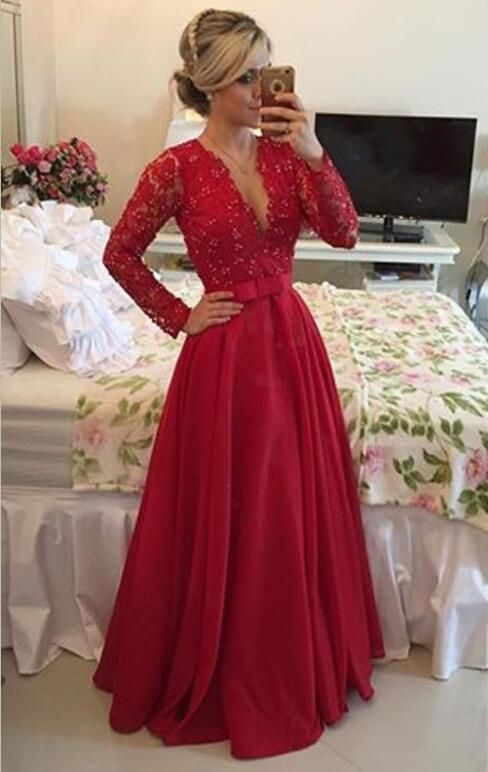 Hot Sale Custom Made Deep V Neck Long Evening Dress 2017 Beaded A Line Long Sleeve Red Lace Prom Gown Plus Size Formal Gowns Poofy Prom Dresses From Dressmanualfactory, $105.53| DHgate.Com
