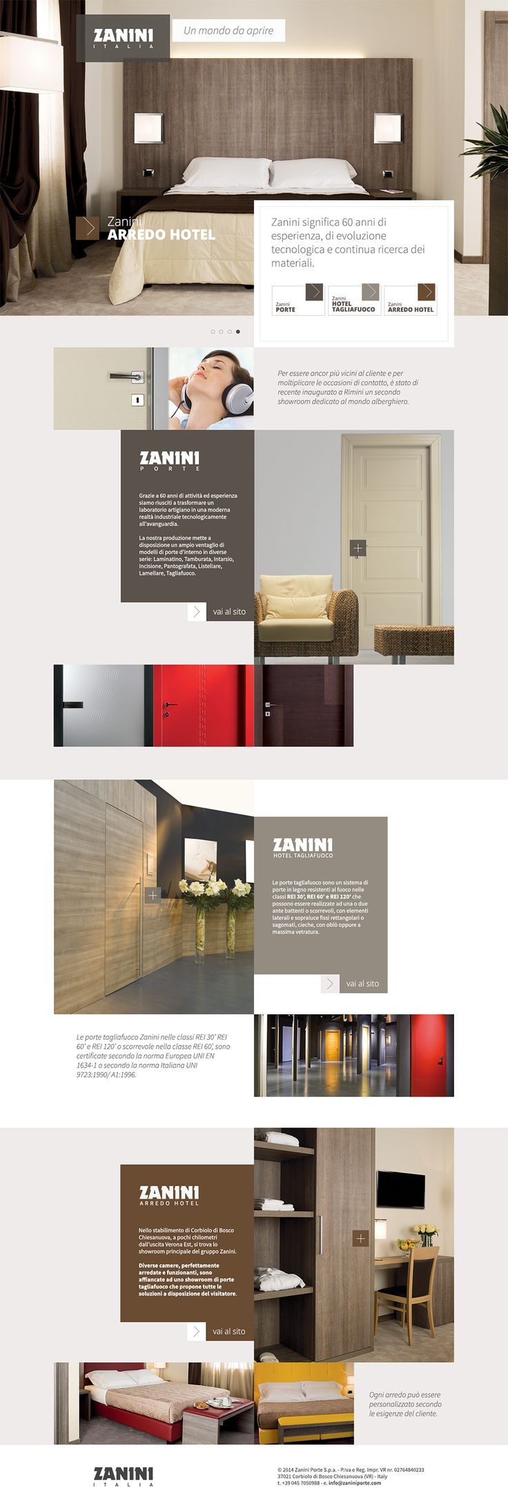 Zanini Italia: entrance page for the company's different websites