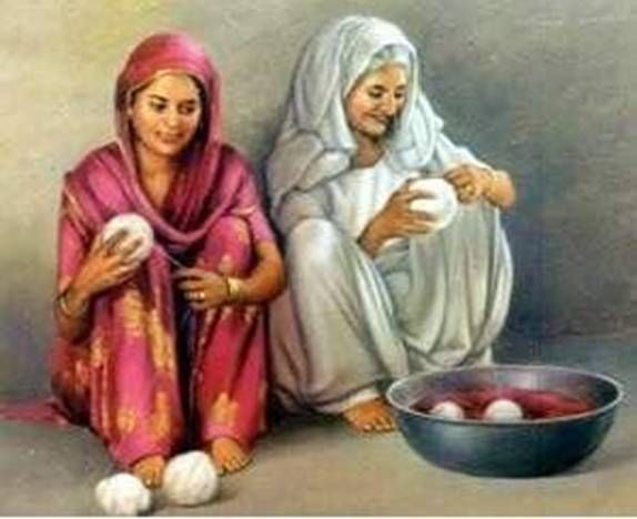 Old Punjabi Culture : Ladies making cotton thread bolls