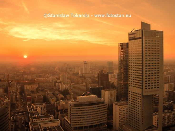 Sunset over Warsaw downtown - aerial view from the top of the Palace of Culture and Science.