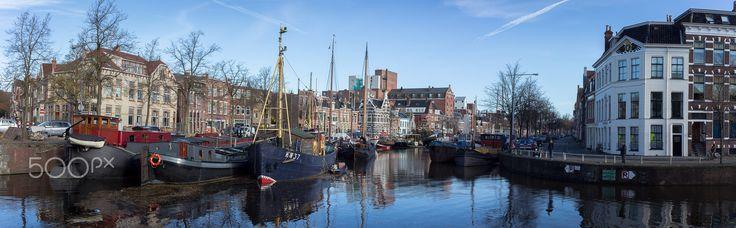 Panorama Noorderhaven - View at the Noorderhaven in Groningen, the Netherlands