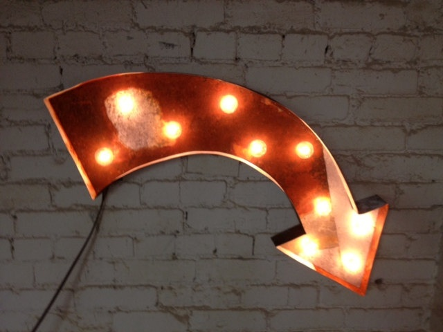 vintage store sign electric arrow metal by WestVintageTradingCo
