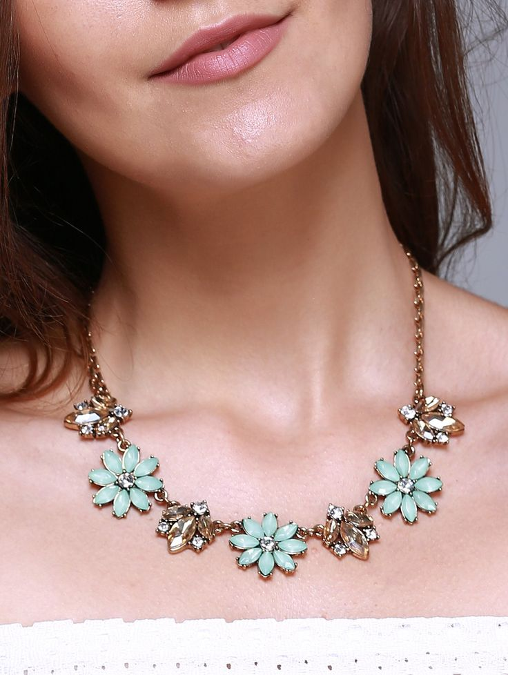 Vintage Faux Gem Alloy Floral Necklace For Women