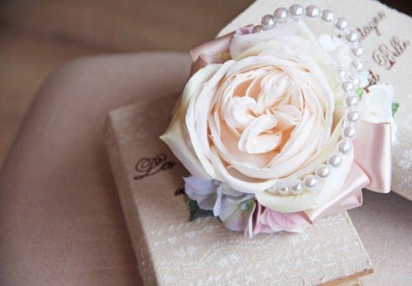 【POPO】アンティークRoseと紫陽花のコサージュ|コサージュ|ハンドメイド通販・販売のCreema