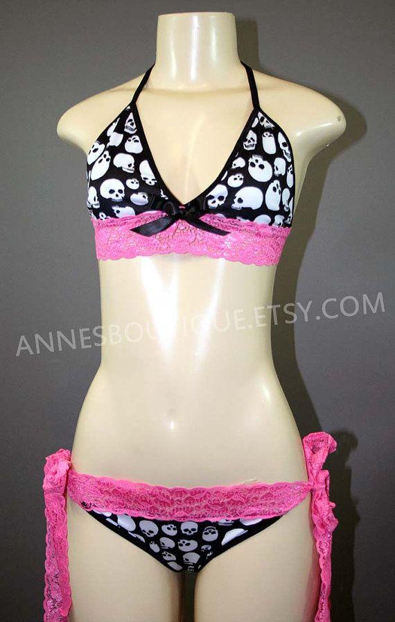 Women's Pink Lace Ribbon Skull Bikini Swimsuit  by AnnesBoutique, $45.00