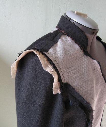 Grey suit sleeve head. Tips on sewing wool crepe jacket.