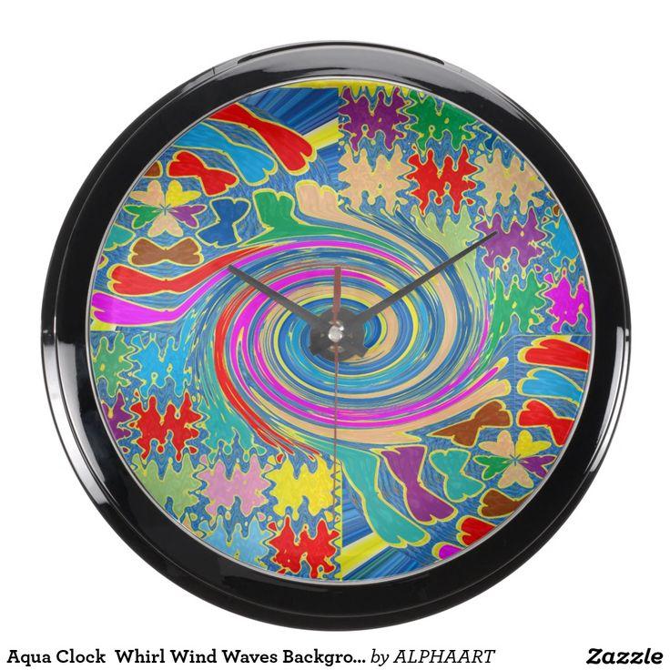 Aqua Clock  Whirl Wind Waves Background Colorful