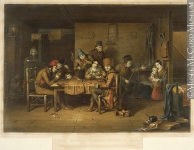French Canadian habitants playing at cards (Cornelius Krieghoff).  Habitants were French settlers and the inhabitants of French origin who farmed the land along the two shores of the St. Lawrence Gulf and River in what is the present-day Province of Quebec in Canada.