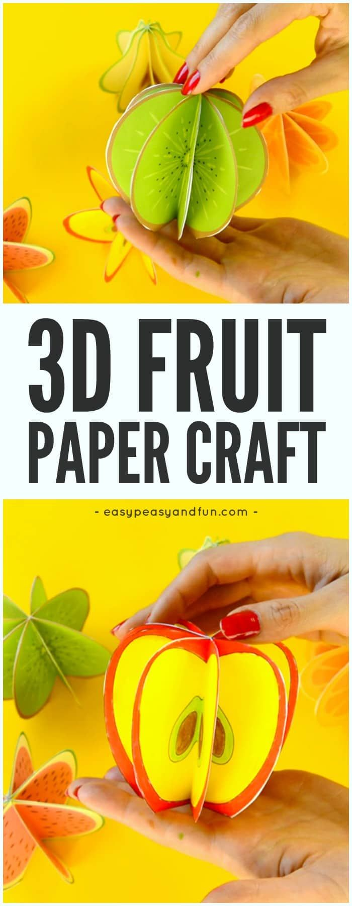 Printable Template 3D Paper Fruit Craft Idea