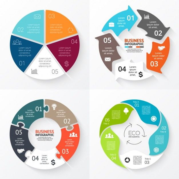 Round Infographic Diagram Collection Free Vector