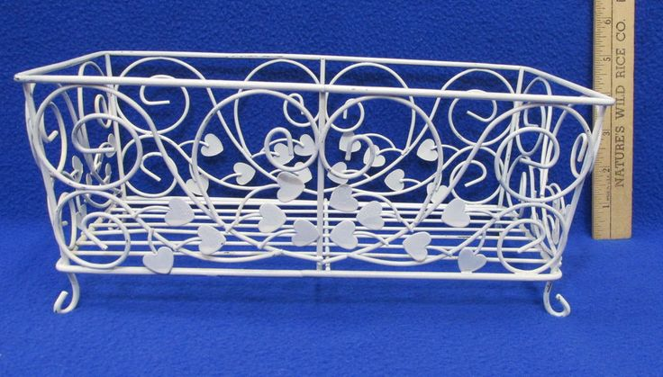 White Metal Wire Basket Scrolling Heart Design Rectangle Gift Holder Storage  #NA