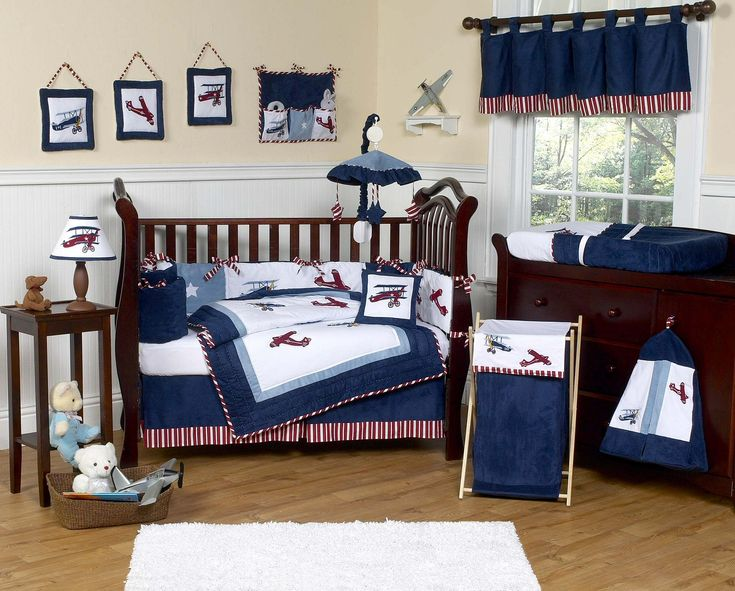 Vintage Airplane Baby Boy Crib Bedding Set - 9pc Nursery Collection White & Navy Blue