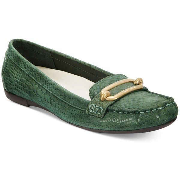 Anne Klein Noris Moccasins Flats (£62) ❤ liked on Polyvore featuring shoes, flats, green, flat heel shoes, moccasin shoes, green flats, flat pumps and moccasin flats