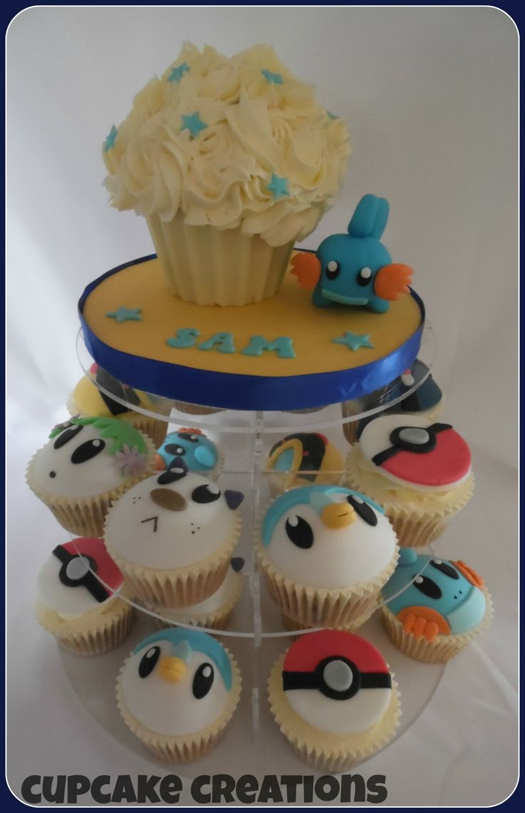 Pokemon mini giant cupcake and matching cupcakes