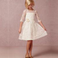 een lijn half mouw kinderen op maat ronde missverkiezing dressesvestidos de comunion wit kant bloem meisje jurken voor bruiloften