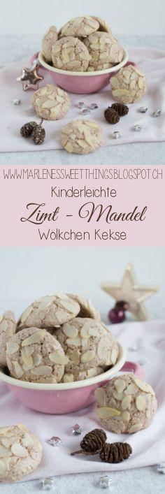 Zimt Mandel Wölkchen Kekse sind Kinderleicht gemacht an Weihnachten. Die Cookies sind perfekt, wenn man Eiweiss über hat.