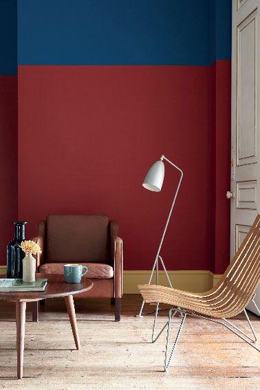 couleur salon avec peinture teinte rouge et bleu